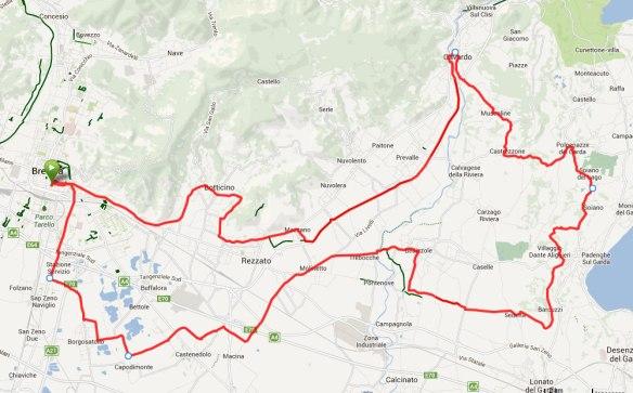 percorso – Brescia – Castenedolo – Padenghe — Soiano – Gavardo – Brescia